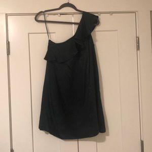 One shoulder green ruffle dress